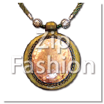 MOP Yellow Pendant Cracking Rounded Design